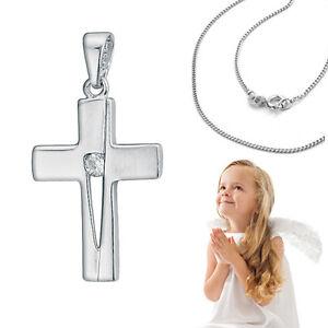 Baby Taufe Kinder Kommunion Kreuz Anhänger mit Zirkonia und Kette Silber 925 Neu
