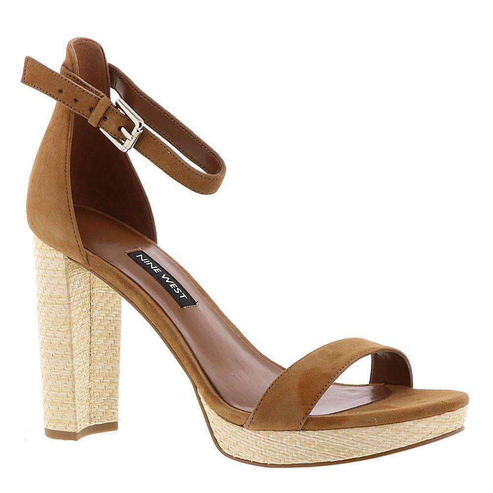 Nine West Women's Dempsey Leather Dress Sandal Platform High Chunky Heel