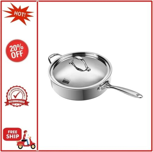 """Stainless Stee Cooks Standard 10.5/""""//4 Qt Multi-Ply Clad Deep Saute Pan with Lid"""