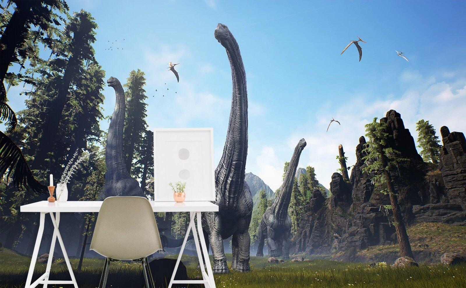 3D Dinosaur Jungle Bird 7 Wallpaper Mural Print Wall Indoor Wallpaper Murals UK
