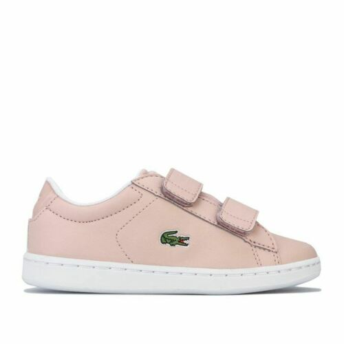 Boy/'s Lacoste Chidren Carnaby Evo Strap Hook and Loop Trainers in Pink