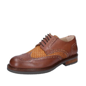 mens shoes FDF SHOES 6 (EU 40) elegant brown leather textile BZ344-B