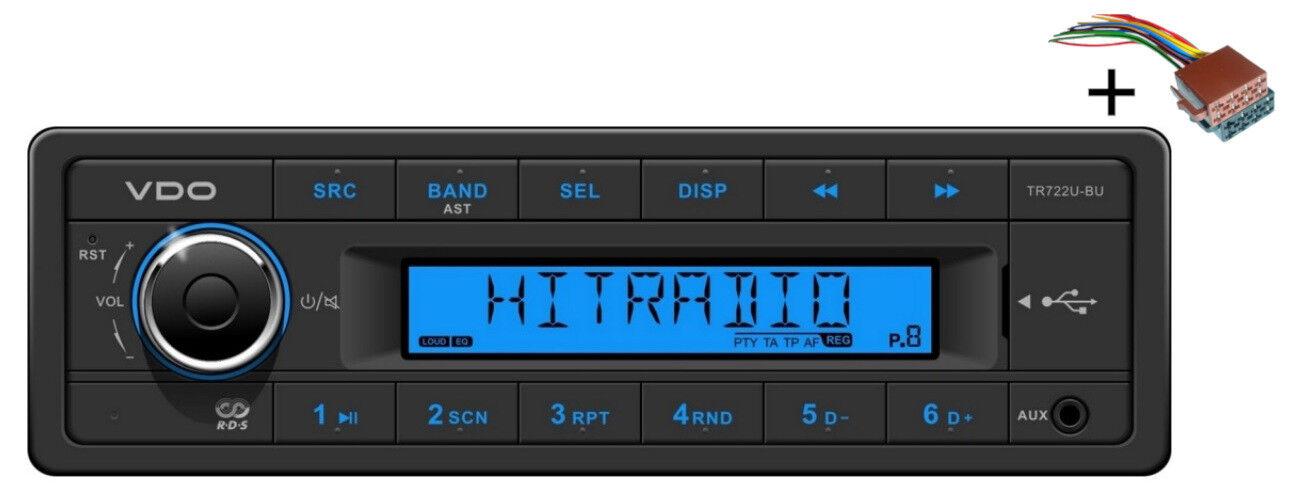 VDO Radio USB MP3 WMA 24V + Cable TR722U-BU Marina Barco