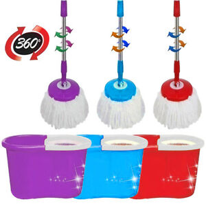 HOME-CLEANING-SPINNING-360-MOP-AND-BUCKET-WT-2-HEADS-RED-BLUE-amp-PURPLE