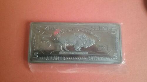 5oz Zinc Bullion Bar Buffalo