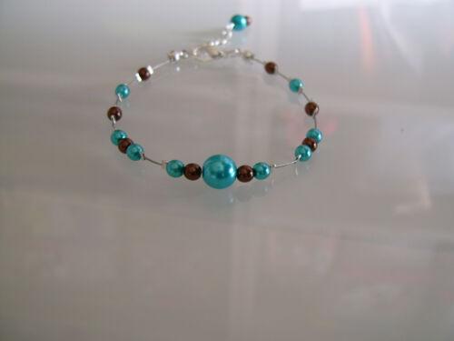 Bracelet Chocolat//Marron//Turquoise robe de Mariée//Mariage//Soirée perle pas cher