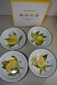 New in box! Williams Sonoma MEYER LEMON Citrus Porcelain BOWLS Set of 4