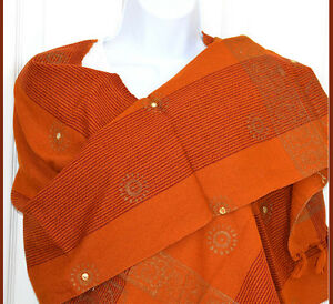 Cotton-hand-made-Hand-Woven-Mirror-Work-Stole-Wrap-Maize-Color-from-India