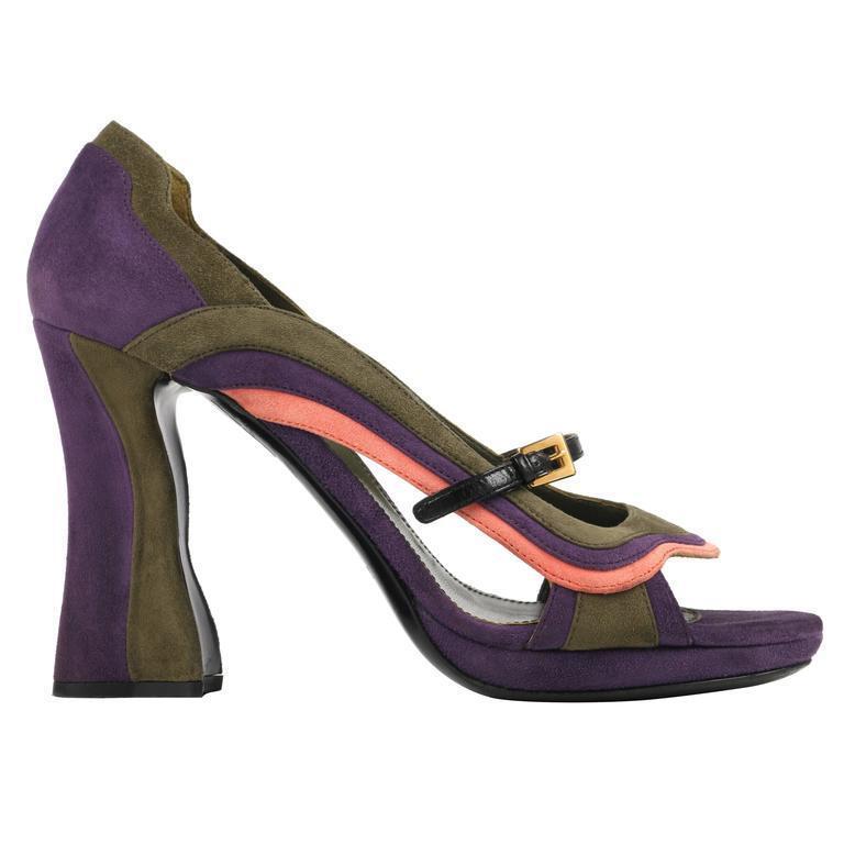 PRADA fée collection  vagues  MultiCouleure velour Chaussures en Cuir Avant Ouvert
