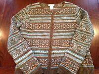 Talbots Petites Cardigan Sweater Lambs Wool Zip Up Snowflake Woven Ribbon Sz L