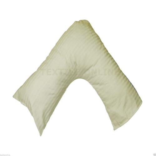 Luxury Satin Stripe 100/% Cotton V Shaped Pillow with Pillow Case 73x34cm Size
