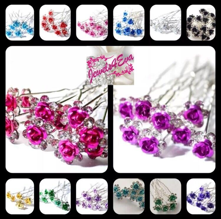 Bridal Wedding Crystal Diamante Flower Rose Jewellery Hair Pin Clip Accessory
