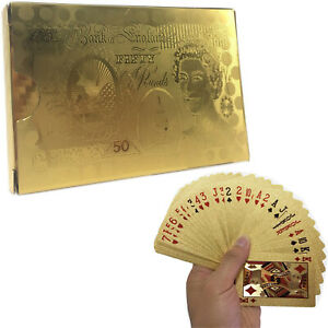24K GOLD PLATED WATERPROOF POUND PLAYING CARDS GAME FULL POKER DECK 99.9% PURE