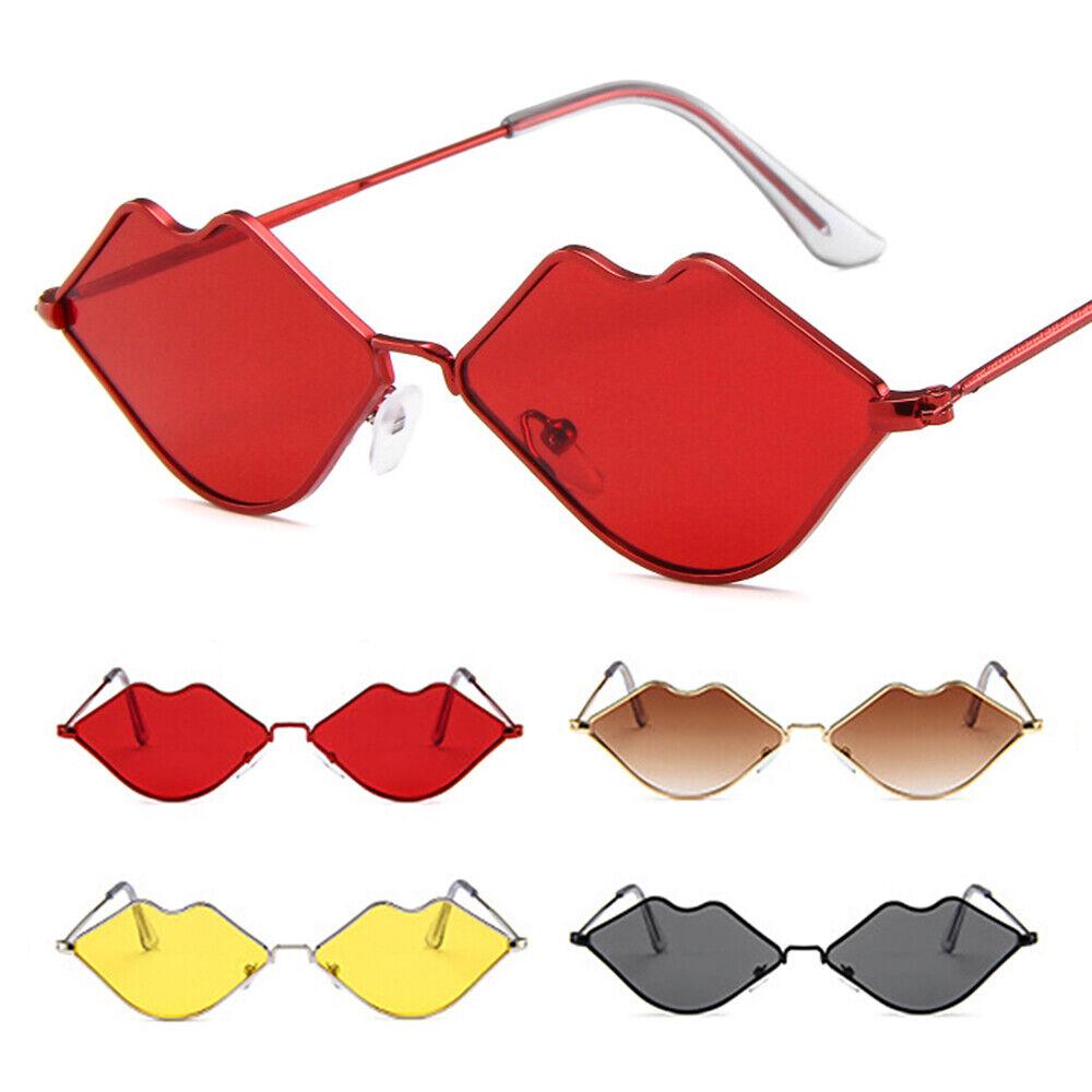 1 Pair Sunglasses Lips Shape - Sun Glasses Metal Frame For Women Creative