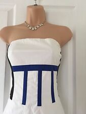 Karen Millen White/Blue Colour Block Strapless Fit & Flare Dress Size 10