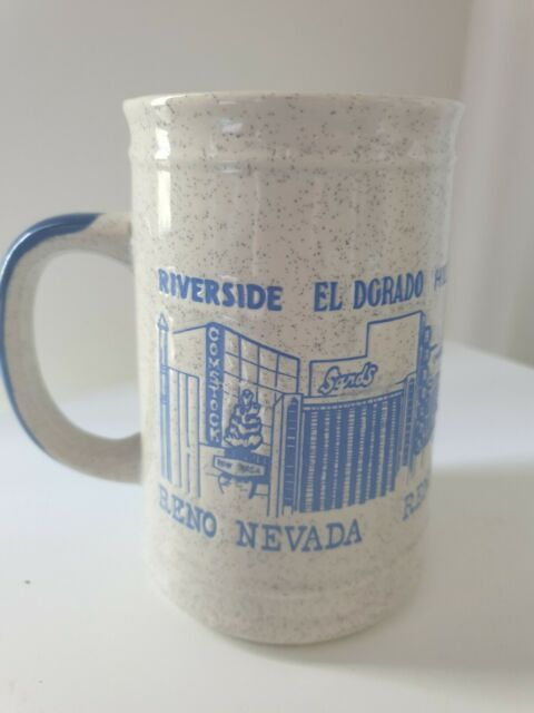 Vintage Reno Nevada Beer Stein Ceramic Mug Speckled Stoneware Relief Retro Bar