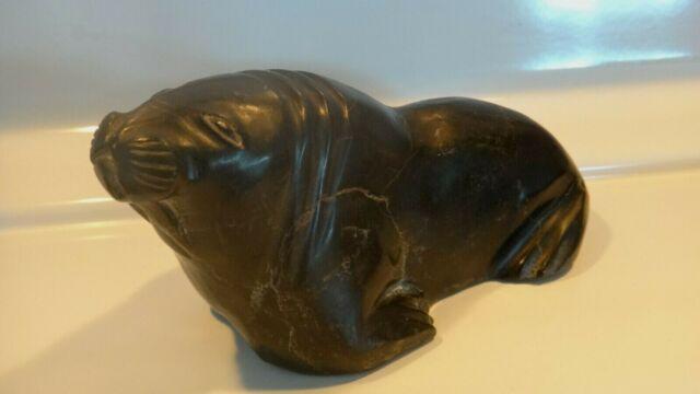 Vintage Bull Walrus by Noah Nowrakudluk, 1916-96 Inuit Art Carving