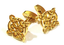 CELTIC Design Cuff Links GOLD-PLATED Hi Quality Swivel Back Cufflinks +Black Box