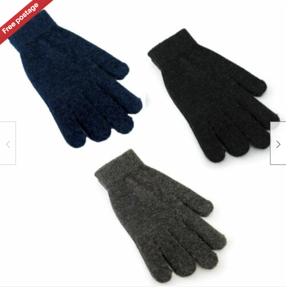 3 Pairs Adult Mens Winter Knitted Magic Gloves with Wool Black, Charcoal, Navy