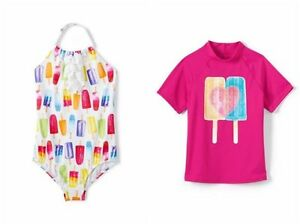 Lands End Toddler Girls 2t Popsicle Swimsuit Rashguard Tee 2 Pc