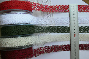 CROCHET-LACE-6-Colours-22mm-wide-2-Metre-Lengths-Green-Tara-Choice-AR6