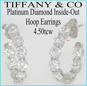 Image Is Loading Tiffany Amp Co Platinum Diamond Inside Out Hoop