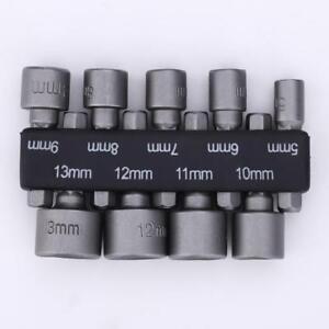 """9x 5-13mm 1/4"""" Hex Nut Driver Set Metric Socket Impact Drill Bits Hand Tool Kit"""