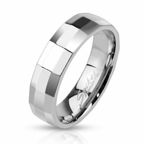 WEDDING RING MAN TEENAGER STEEL FACET RECTANGULAR REFLECTIONS SILVER NEW 2505