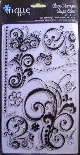 /'Flourishes/'  Clear  Acrylic Stamps Inque Boutique  NIP
