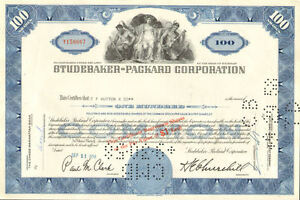Studebaker-Packard-gt-old-automobile-car-stock-certificate-100-share-blue