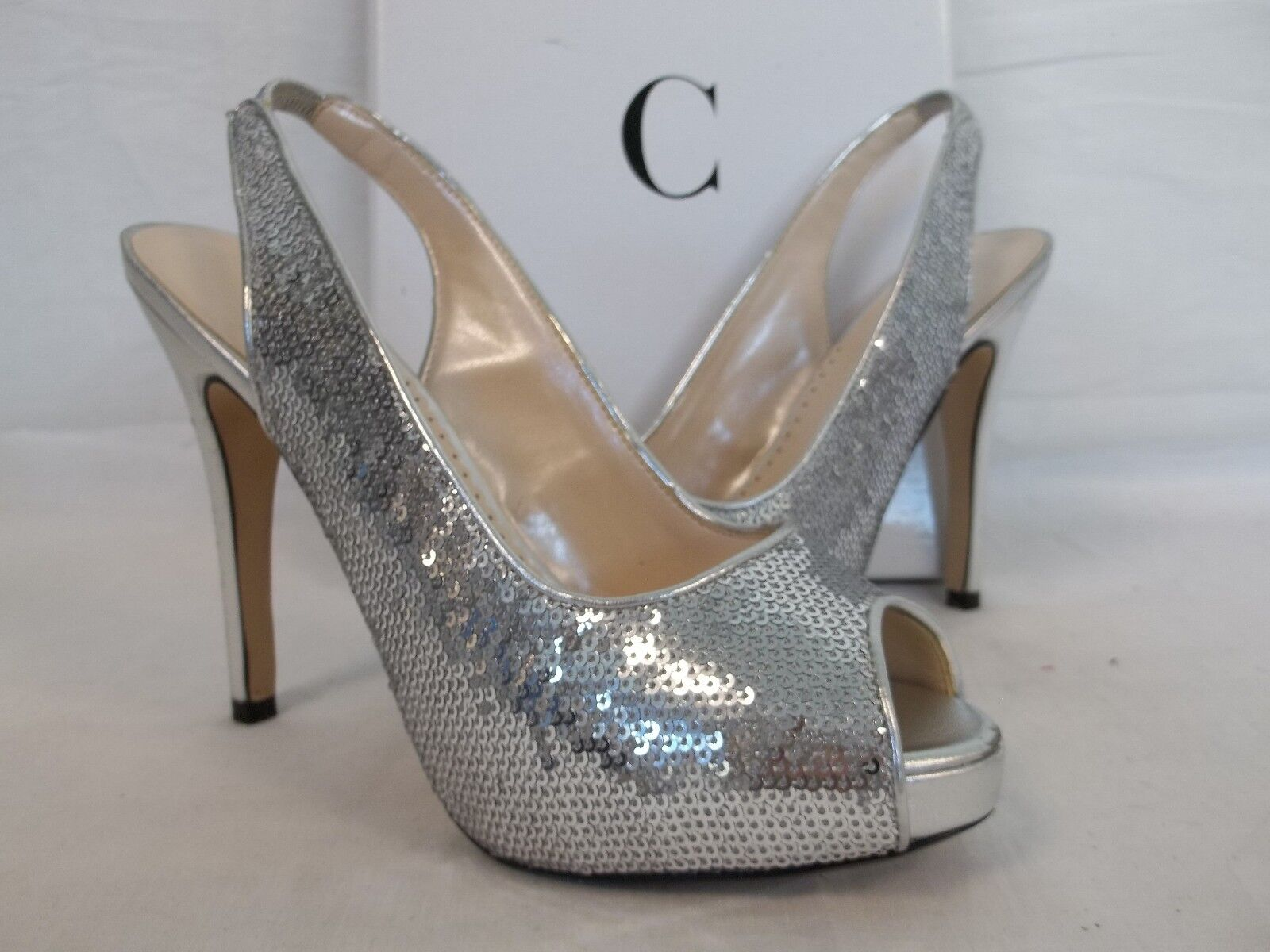 Caparros 6.5 M Channing Silver Satin Open Toe Sling Backs Heels NEU Damenschuhe Schuhes
