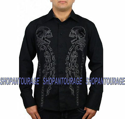 REBEL SPIRIT Double Skull LSW121204 New Men`s Black Shirt