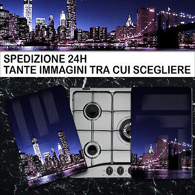 COPRI PIANO COTTURA FORNELLI PIASTRA 2 LASTRE IN VETRO TEMPERATO 52x60