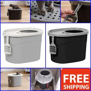 Extra Large Cat Litter Box Pet Covered W Scoop Giant