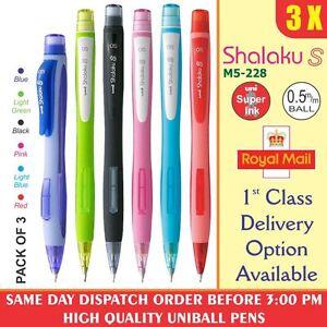 3x-Uni-Ball-Shalaku-m5-228-0-5mm-Lapiz-Mecanico-6-Diferentes-cuerpo-Colores-amp