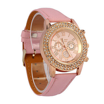 Women Watches Ladies Bling Rhinestone Dial Quartz Analog Bracelet Wrist Watch UK