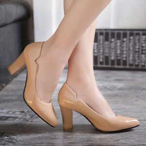Women's Classic Chunky High Heel Sexy Pointed Toe Dress Club Wedding Pumps Shoes