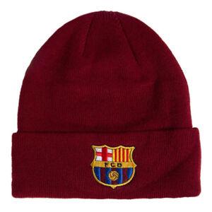 0b0ed3a1d8f FC BARCELONA BURGUNDY COLOUR CUFF KNITTED HAT CAP WINTER HAT NEW ...