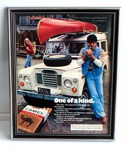 Camel-Cigarettes-Framed-Original-1970s-Advertisement-One-Kind-Canoe-Land-Rover