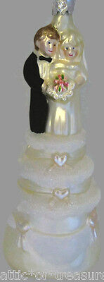 Glassworks Bride Groom Wedding Cake Topper Ornament Midwest of Cannon Falls