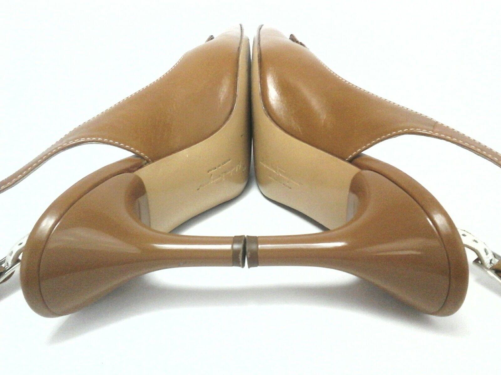 SALVATORRE FERRAGAMO FERRAGAMO FERRAGAMO Heels Pumps Tan Brown GANCINI BIT US 8 8.5 AA EU.39  675 ca1efc