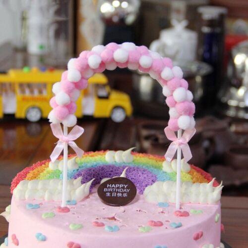 Soft Pompom Cloud Cake Topper Baby Shower Birthday DIY Cake Flag Decorations n