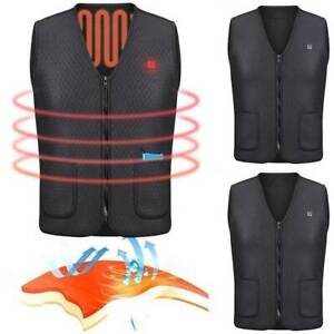 Men Electric USB Heated Vest Warm Coat Heating Jacket Winter Body Warmer Fishing