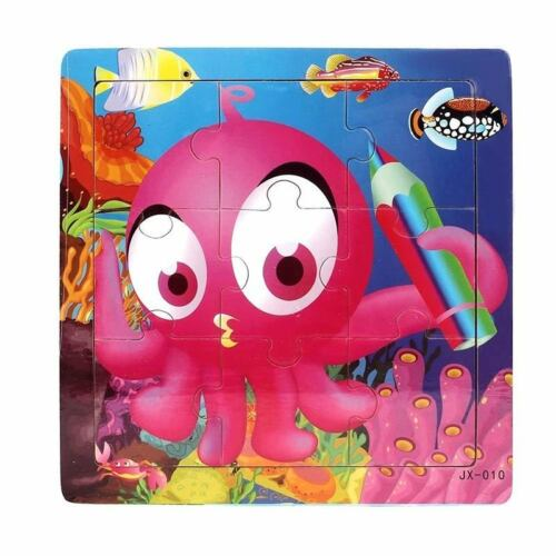 Kids Cartoon Fish Wooden Puzzles Children Toddler Early Educational Jigsaw Toys