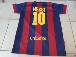 42c1b0aa7c3 Barcelona 10 MESSI Shirt roger's FCB UNICEF size 14 good condation ...