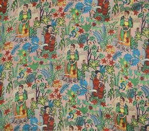Indian Black Floral Hand Block Print Cotton Fabric Dressmaking Sewing By 5 Yard
