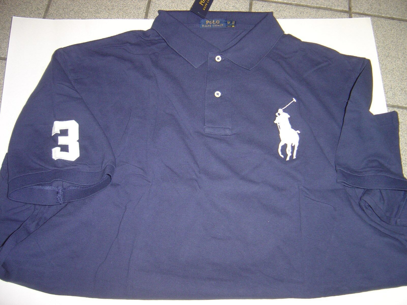 BIG RALPH LAUREN NAVY WITH WHITE LG PONY S S MESH POLO SHIRT SIZE 2XLT