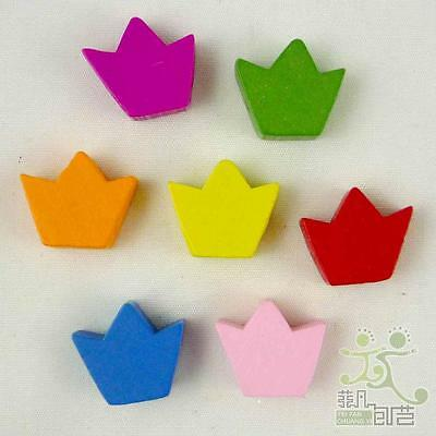 10 pcs mixed colors wood crown flatback/beads craft/kids sewing scarpbook