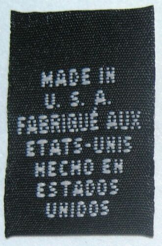 100 BLACK WOVEN CLOTHING LABELS MADE IN USA FRENCH SPANISH