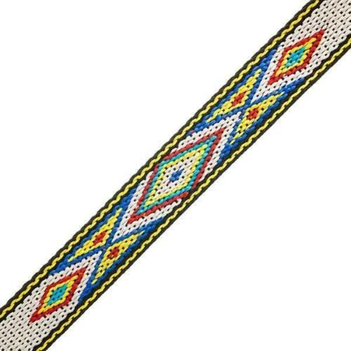 """5 Feet White//Yellow 3//4/"""" Woven Hitched Webbing Trim"""